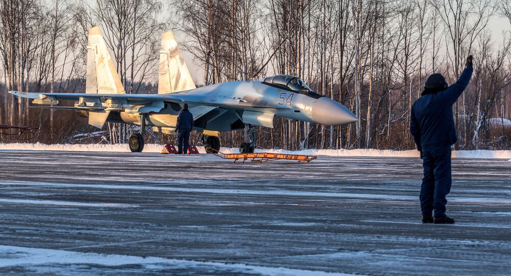 A Su-35S Super-Flanker fighter lands at the Besovets airfield in Karelia