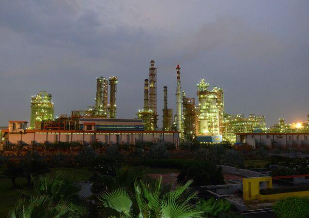 Indian Oil Refinery of Essar Oil at Vadinar village, near Jamnagar, some 380 kms