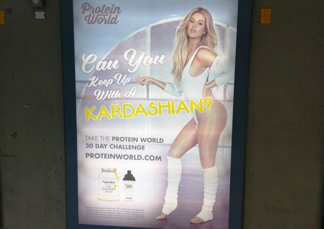 'Can You Keep Up With A Kardashian?' poster on the London underground