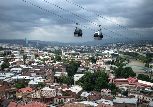 The cable road over the historic part of Tbilisi.
