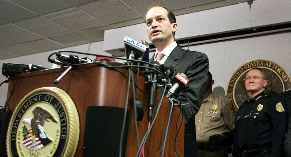 U.S. Attorney R. Alexander Acosta (L) and other law enforcement officials hold a news conference in Miami, Florida. (File)