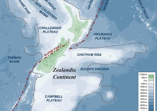 Map of southern part of Zealandia