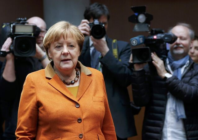 German Chancellor Angela Merkel arrives in the witness stand of a parliamentary inquiry in Berlin investigating the NSA's activities in Germany, February 16, 2017.