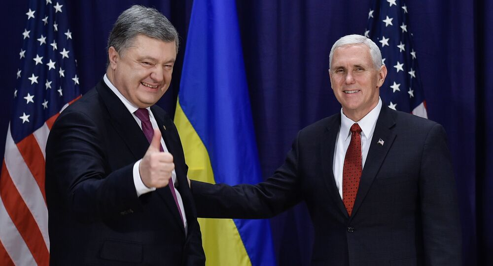 U.S. Vice President Mike Pence and Ukraine President Petro Poroshenko at the 53rd Munich Security Conference in Munich, Germany