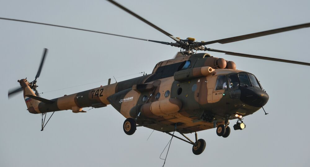 Mi-17B-5 helicopter performs a demonstration flight