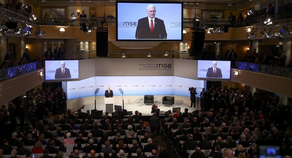 U.S. Vice President Mike Pence delivers his speech during the 53rd Munich Security Conference in Munich, Germany, February 18, 2017