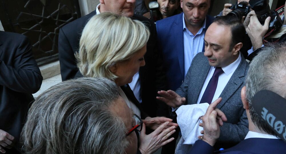 Marine Le Pen, French National Front (FN) political party leader and candidate for French 2017 presidential election, refuses a headscarf for her meeting Lebanon's Grand Mufti Sheikh Abdul Latif Derian in Beirut, Lebanon February 21, 2017