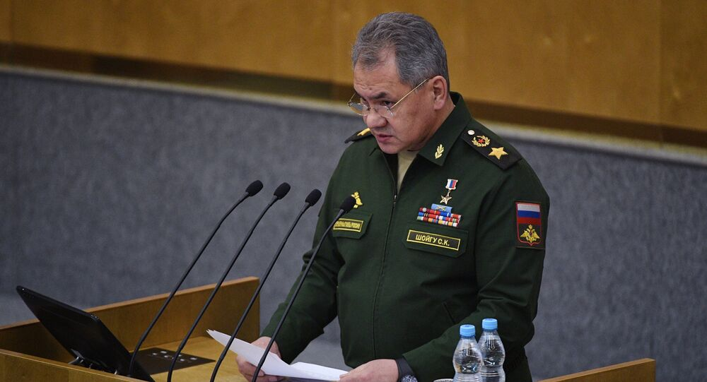 Russian Defense Minister Sergei Shoigu speaks at the lower parliament house's plenary meeting