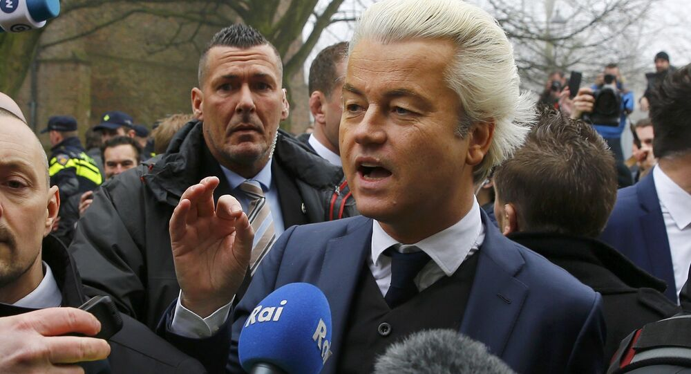 Dutch far right Party for Freedom (PVV) leader Geert Wilders campaigns for the 2017 Dutch election in Spijkenisse, a suburb of Rotterdam, Netherlands, February 18, 2017.