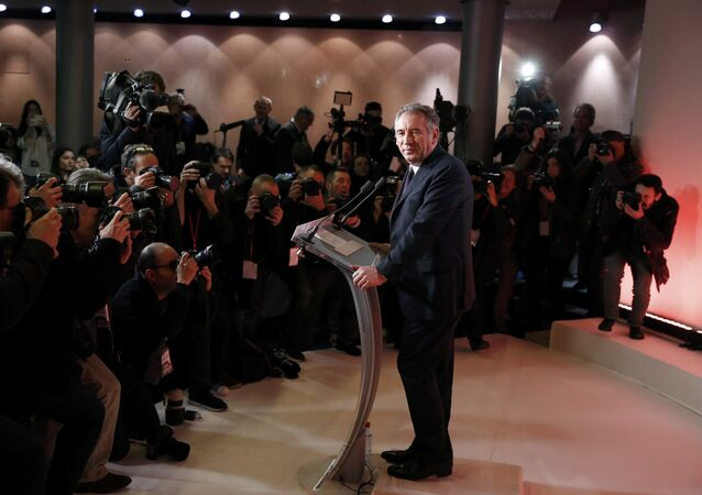Francois Bayrou, French centrist politician and the leader of the Democratic Movement (MoDem), poses for photographers before a news conference at his party's headquarters in Paris, France, February 22, 2017