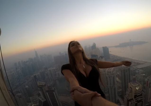 "Russian Instagram Model Viktoria ""Viki"" Odintcova Atop the Cayan Tower"