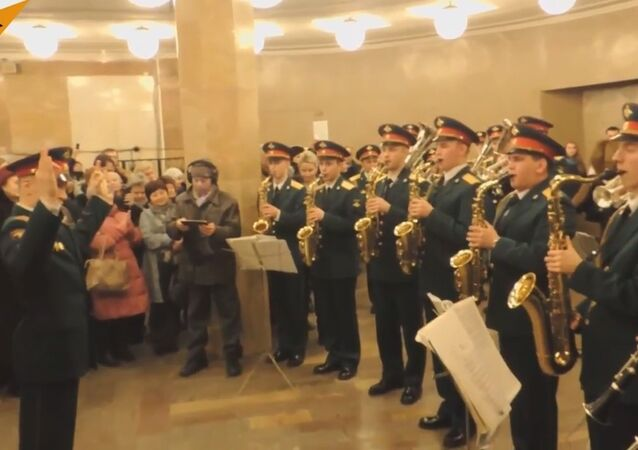 Military Band Performs In The Moscow Subway