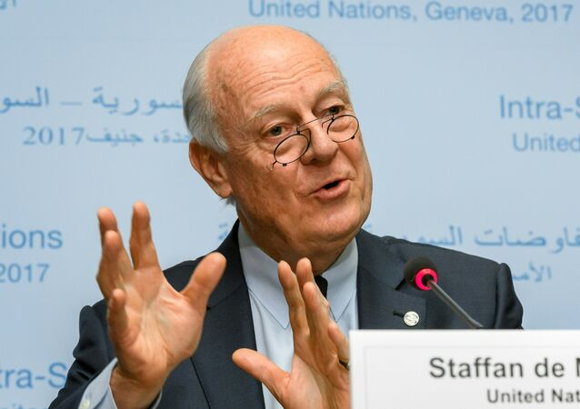 UN Syria envoy Staffan de Mistura speaks during a press conference on the eve of resumption of peace talks on Syria, on February 22, 2017 at the United Nations offices in Geneva