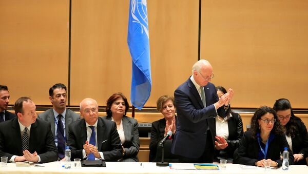 United Nations Special Envoy for Syria Staffan de Mistura addresses the Syrian invitees in the presence of members of the UN Security Council and the International Syria Support Group in the context of the resumption of intra-Syrian talks at the Palais des Nations in Geneva, Switzerland, February 23, 2017 - Sputnik International
