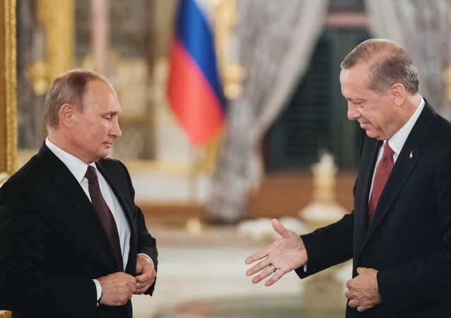 October 10, 2016. Istanbul, Turkey. From left: Russian President Vladimir Putin and Turkish President Recep Tayyip Erdogan during a joint statement for the press after their meeting.