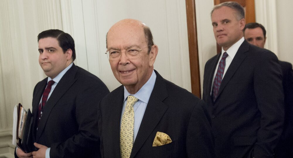Wilbur Ross, nominee for Secretary of Commerce, arrives for a meeting with US President Donald Trump and manufacturing CEOs in the State Dining Room at the White House in Washington, DC