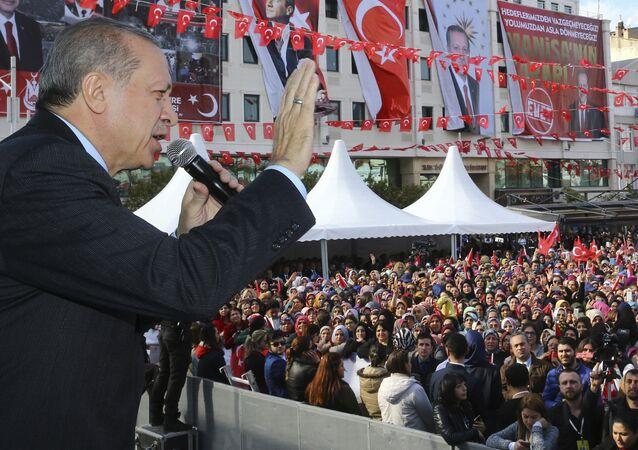 Turkey's President Recep Tayyip Erdogan addresses his supporters in Manisa, Turkey, Friday, Feb. 24, 2017.