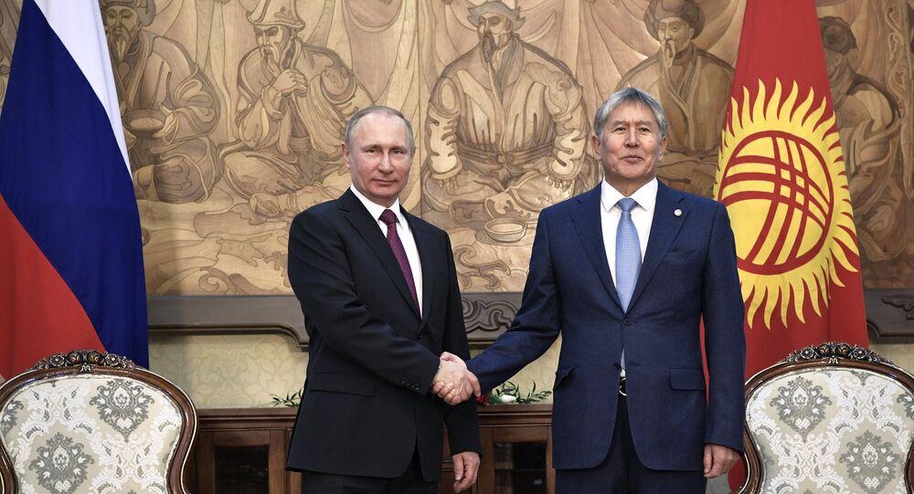 February 28, 2017. Bishkek, Kyrgyzstan. From left: Russian President Vladimir Putin meets with President of Kyrgyzstan Almazbek Atambayev at the Ala-Archa residence