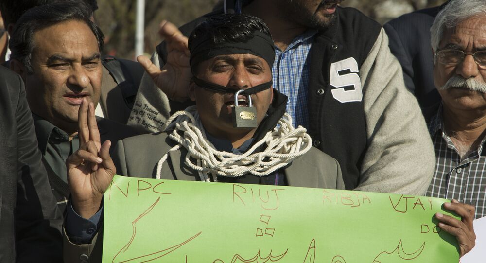 Pakistani journalists protest in Islamabad, Pakistan, to condemn the death of a journalist, Monday, Feb. 13, 2017