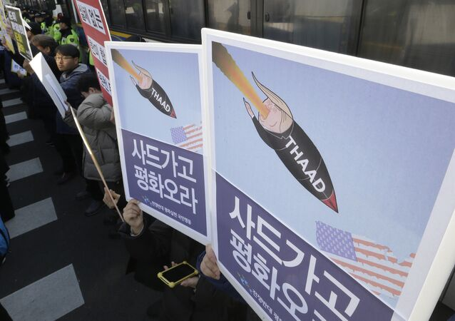 South Korean protesters stage a rally to oppose a plan to deploy an advanced U.S. missile defense system called Terminal High-Altitude Area Defense, or THAAD, in front of the Defense Ministry in Seoul, South Korea, Tuesday, Feb. 28, 2017