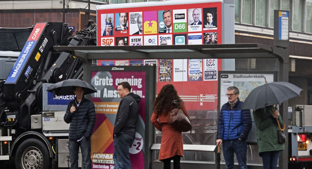A picture shows a placard with the election posters of all parties for the Dutch national elections in Amsterdam, on February 20, 2017