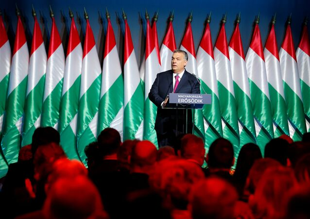 Hungarian Prime Minister Viktor Orban speaks during his state-of-the-nation address in Budapest, Hungary, February 10, 2017. Among world leaders, Orban is known as one of Soros' most outspoken critics.