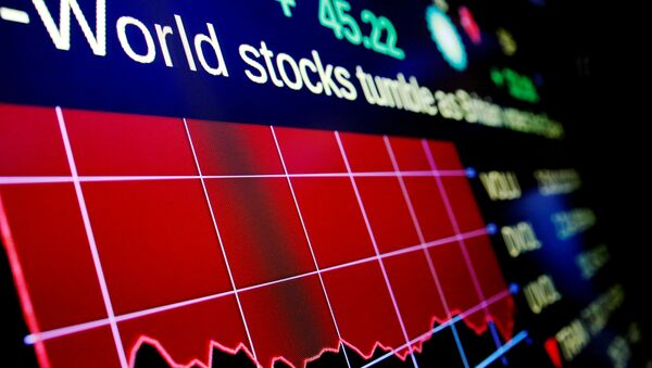 Electronic boards display the days loss to the Dow Jones Industrial Average (DJI) above the floor of the New York Stock Exchange (NYSE) in New York, U.S. (File) - Sputnik International