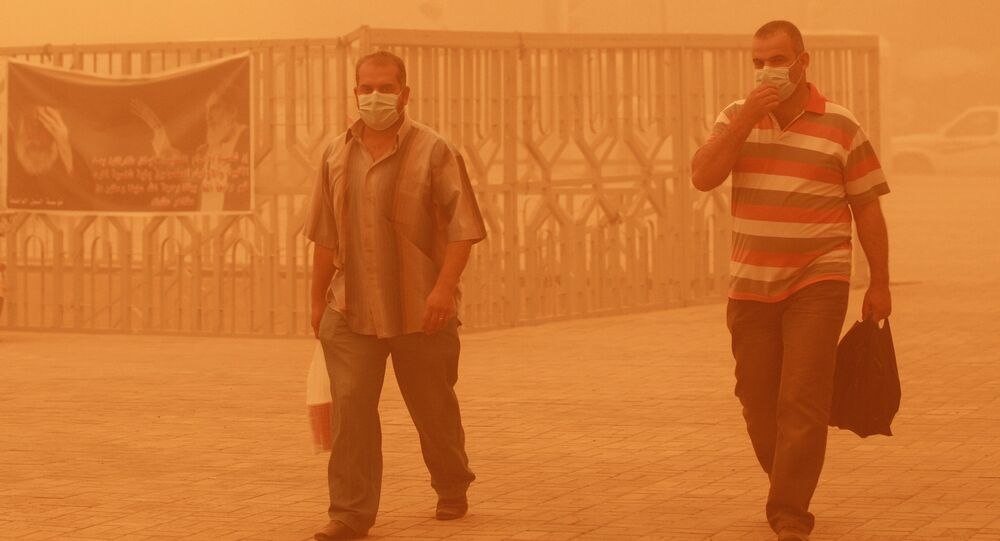Men wear dust masks during a heavy sandstorm. Iran (File)