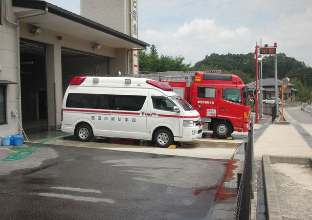 Ambulance and fire truck. Japan