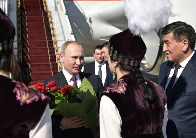 February 28, 2017. Bishkek, Kyrgyzstan. From left: Russian President Vladimir Putin meets with Prime Minister of Kyrgyzstan Sooronbai Zheenbekov at Manas airport.