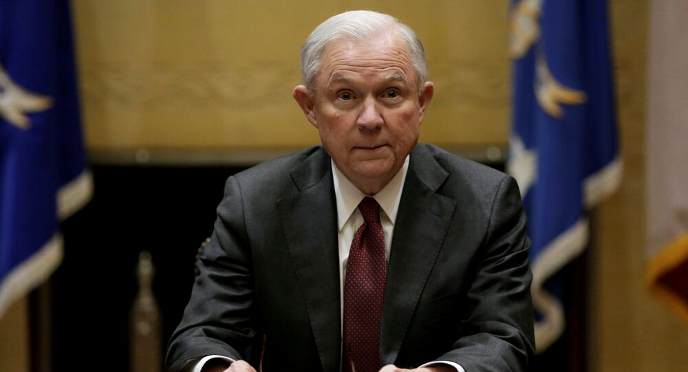 U.S. Attorney General Jeff Sessions holds his first meeting with heads of federal law enforcement components at the Justice Department. in Washington U.S., February 9, 2017