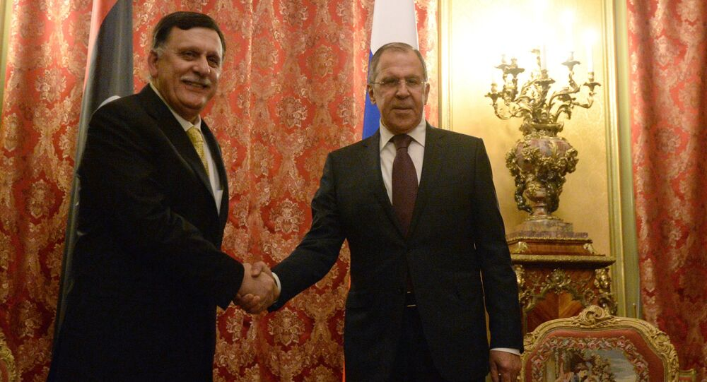 Russian Foreign Minister Sergei Lavrov meets with Libyan Prime Minister Fayez al-Saraj