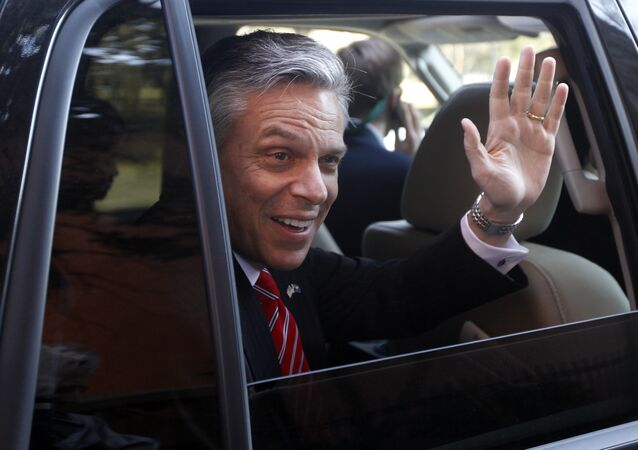Republican presidential candidate and former Utah Gov. Jon Huntsman waves as he is driven away from a campaign stop in Charleston, S.C. Huntsman (File)