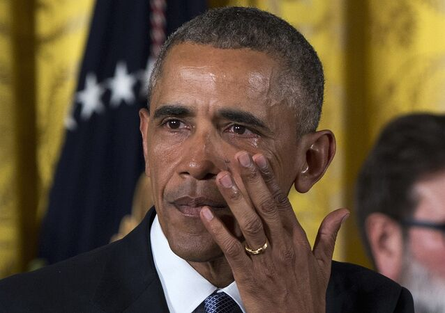 President Barack Obama wipes away tears from his eyes as he speaks in the East Room of the White House in Washington on Jan. 5, 2016, about steps his administration is taking to reduce gun violence.