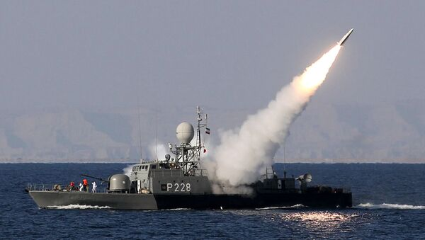 Iranian navy fires a Mehrab missile during the Velayat-90 naval wargames in the Strait of Hormuz in southern Iran (file) - Sputnik International