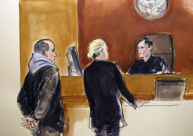 In this courtroom drawing, Elvis Redzepagic, left, appears before Magistrate Judge Robert Levy, right, Saturday, March 4, 2017 in New York, during his arraignment on charges that he attempted to provide material support to a foreign terrorist organization.