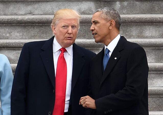 President Donald Trump and former President Barack Obama talk on the East front steps of the US Capitol after inauguration ceremonies on January 20, 2017 in Washington, DC.