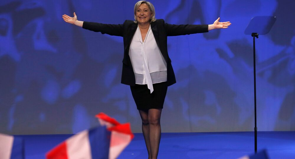 Marine Le Pen, French National Front (FN) political party leader and candidate for French 2017 presidential election, attends a political rally in Saint-Herblain near Nantes, France, February 26, 2017.