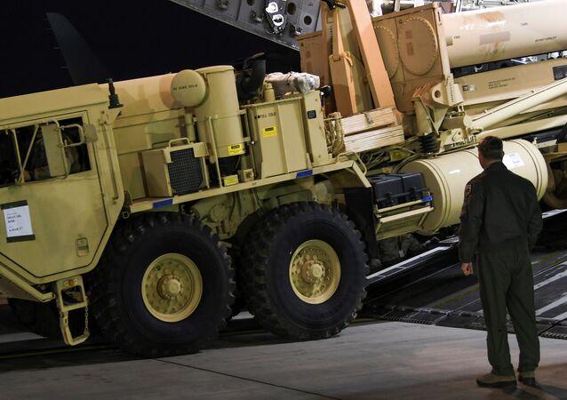 A Terminal High Altitude Area Defense (THAAD) interceptor arrives at Osan Air Base in Pyeongtaek, South Korea