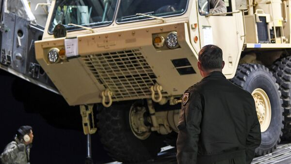 A Terminal High Altitude Area Defense (THAAD) interceptor arrives at Osan Air Base in Pyeongtaek, South Korea, in this handout picture provided by the United States Forces Korea (USFK) and released by Yonhap on March 7, 2017. Picture taken on March 6, 2017 - Sputnik International