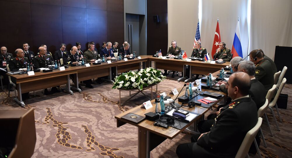 Turkey's Chief of Staff General Hulusi Akar, U.S. Chairman of the Joint Chiefs of Staff Joseph Dunford and Russian Armed Forces Chief of Staff Valery Gerasimov meet in Antalya, Turkey