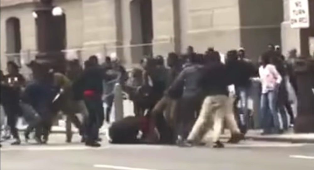 Teen violence occurs in Center City, Philadelphia, March 6 2017.
