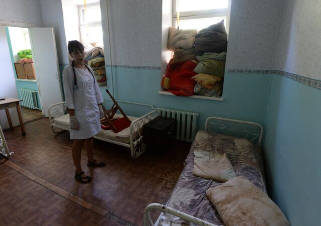 A ward in Gorlovka's hospital where windows are protceted with pillows during artillery shelling of the city by the Ukrainian Army