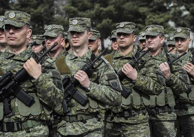 Members of Kosovo Security Force (KSF) attend a ceremony marking the 19th anniversary of Kosovo Liberation Army (KLA) Commander Adem Jashari death, in capital Pristina, Kosovo in this photo taken on Sunday, March 5, 2017