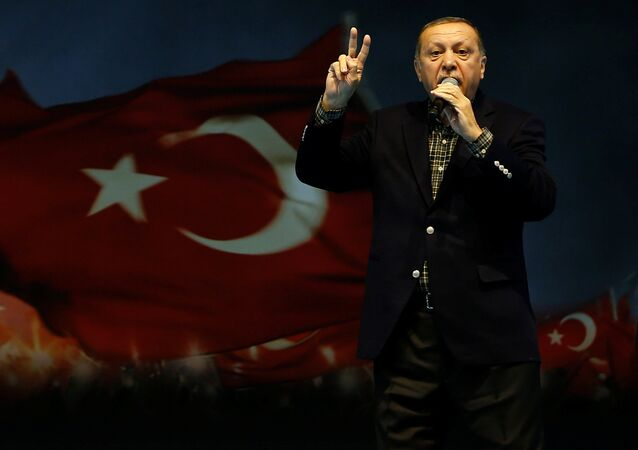 Turkish President Tayyip Erdogan makes a speech during a Women's Day rally in Istanbul, Turkey, March 5, 2017