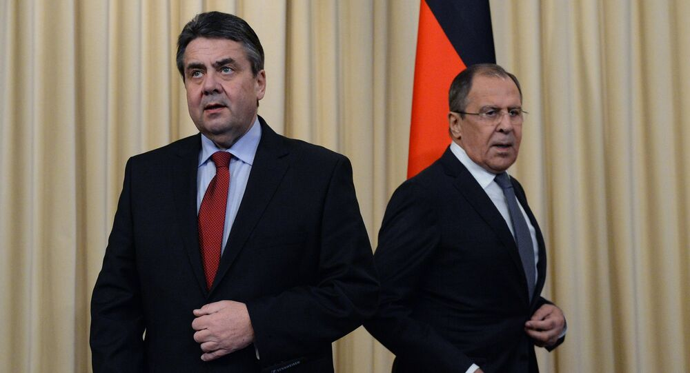 Russian Foreign Minister Sergei Lavrov, right, and German Foreign Minister Sigmar Gabriel during a joint news conference in Moscow