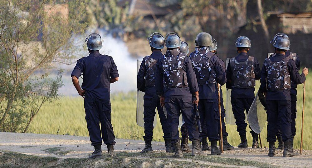 Nepalese police clash with Madhesi minority protesters at Raibiraj, Saptari District, some 240 kms southeast of Kathmandu on March 6, 2017
