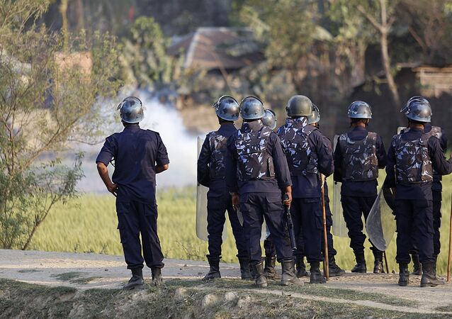 Nepalese police clash with Madhesi minority protesters at Raibiraj, Saptari District, some 240 kms southeast of Kathmandu on March 6, 2017
