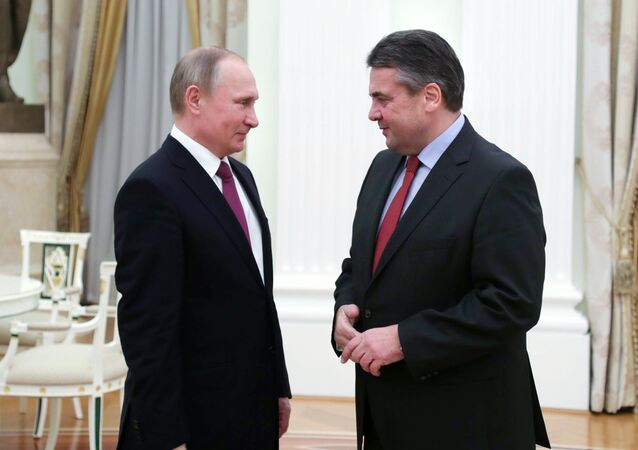 Russian President Vladimir Putin at a meeting with German Foreign Minister Sigmar Gabriel