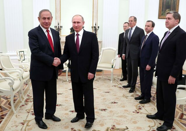 March 9, 2017. President Vladimir Putin and Israeli Prime Minister Benjamin Netanyahu, left, during a meeting. From left: Presidential Aide Yury Ushakov, Deputy Prime Minister Arkady Dvorkovich and Foreign Minister Sergei Lavrov